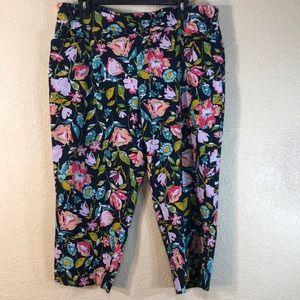 Time & Tru Capris Pants Floral Navy Blue Green XXL